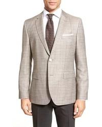 BOSS Jeen Trim Fit Plaid Wool Linen Sport Coat
