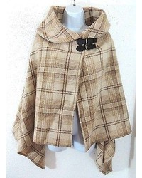 Beige Plaid Cape Coat