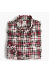 Beige Plaid Dress Shirt