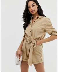 ASOS DESIGN Boiler Playsuit With Button Front And