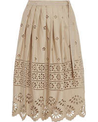 Wrap effect broderie anglaise cotton skirt beige medium 1055179
