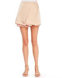 Beige Pleated Mini Skirt
