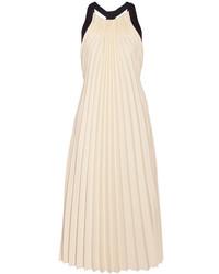 3.1 Phillip Lim Silk Satin Trimmed Pleated Twill Midi Dress Beige