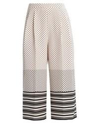 Topshop Spot Stripe Crop Trousers Monochrome