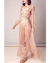 Beige Polka Dot Tulle Maxi Dress