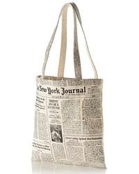 New york newspaper print canvas shopping tote black medium 212835