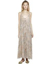 Beige Print Chiffon Maxi Dress
