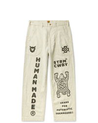 Human Made Printed Cotton And Ramie Blend Trousers