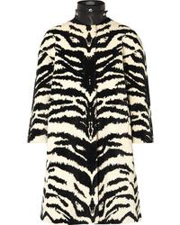 Alexander McQueen Leather Trimmed Zebra Jacquard Coat