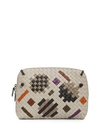 Beige Print Leather Crossbody Bag
