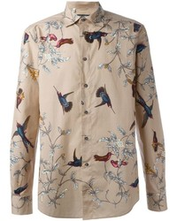 Bird print shirt medium 468967