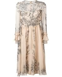 Beige Print Midi Dress