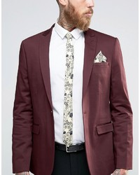 Asos Floral Tie And Pocket Square Set