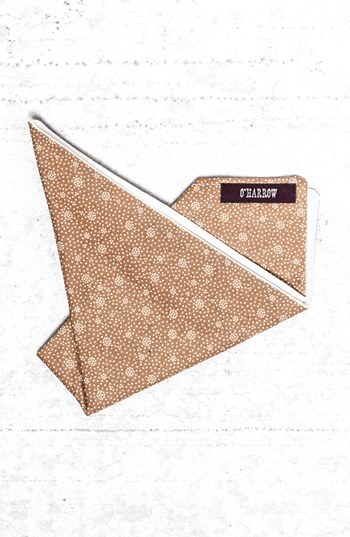 O'Harrow Gold Rush Dot Print Pocket Square Gold Ivory Cupro One Size