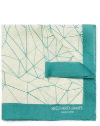 Richard James Printed Wool And Silk Blend Pocket Square