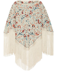 Talitha Sasha Fringed Embroidered Silk Poncho