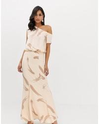 ASOS DESIGN One Shoulder Satin Drape Maxi Dress In Brush Stroke Print