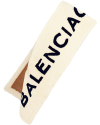 Balenciaga Intarsia Shearling Scarf Cream