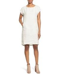 Eileen Fisher Print Linen Ballet Neck Knee Length Shift Dress