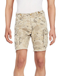 Beige Print Shorts