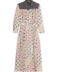 Printed silk crepe de chine midi dress cream medium 696506