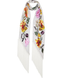 Rockins flora printed silk crepe de chine scarf medium 372371