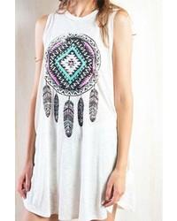 Beige Print Swing Dress