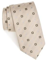 Beige Print Tie
