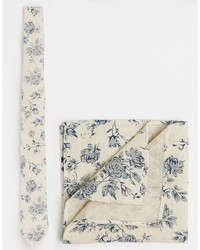 Asos Brand Tie And Pocket Square Pack In Floral Print Save 21%