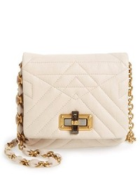 Beige Quilted Leather Crossbody Bag