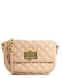 Asos Quilted Cross Body Bag With Chunky Chain Nude