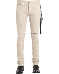 Beige Ripped Skinny Jeans