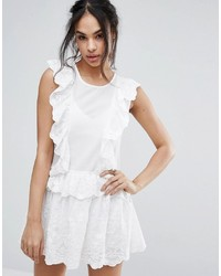 Missguided Broderie Lace Ruffle Mini Dress