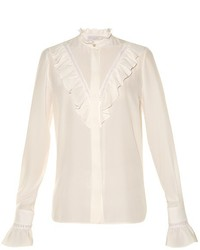 Stella McCartney Ruffled High Neck Silk Blouse