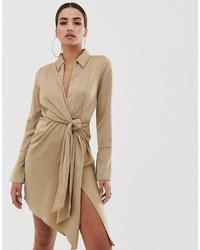 ASOS DESIGN Mini Satin Shirt Dress With