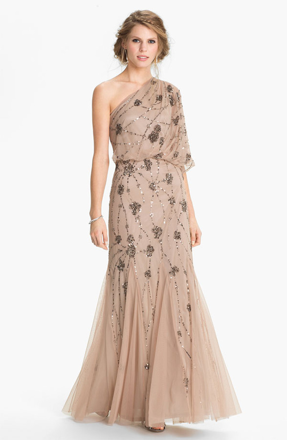 Adrianna Papell Beaded One Shoulder Blouson Gown Where To Buy