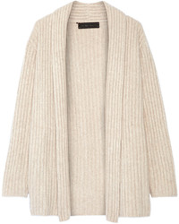 Ribbed cashmere cardigan sand medium 709153
