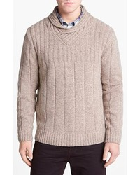 Beige Shawl-Neck Sweater
