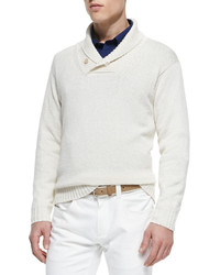 Shawl collar pullover sweater cream medium 334086