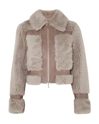 Zimmermann Fleeting Paneled Leather And Shearling Jacket