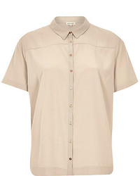 Beige Short Sleeve Button Down Shirt