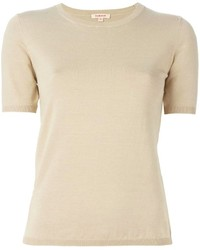 Beige Short Sleeve Sweater