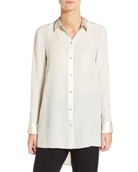 Eileen Fisher Silk Crepe De Chine Highlow Blouse