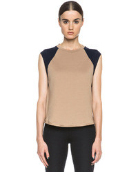 3.1 Phillip Lim Cotton Baseball Tank With Silk Sleeve In British Tan