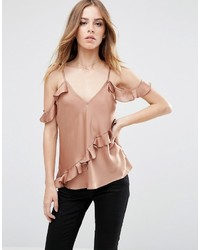 Satin cold shoulder cami top with ruffle medium 814188