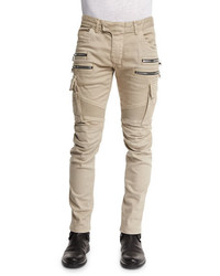 Balmain Slim Cotton Denim Biker Pants Beige