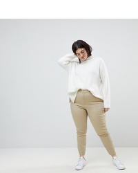 Asos Curve Asos Design Curve Ankle Length Stretch Skinny Trousers With Zip Side Pockets