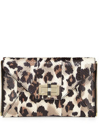 Beige Snake Leather Clutch