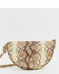 Glamorous Snakeskin Half Moon Shoulder Bag