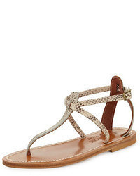 Beige Snake Leather Thong Sandals